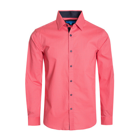 Geometric Pattern Cotton Long Sleeve Shirt // Coral (S)