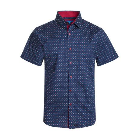 Paisley Cotton Short Sleeve Shirt // Navy (S)