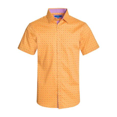 Paisley Cotton Short Sleeve Shirt // Mustard (S)