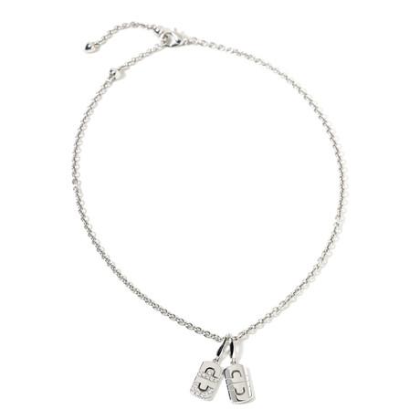 "18k White Gold Diamond Double Parentesi Pendant Necklace // 19"" // New"