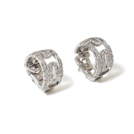 18k White Gold Diamond Pave Parentesi Earrings // New