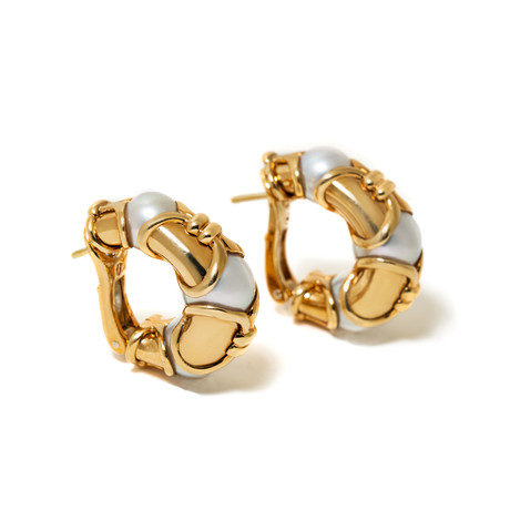 18k Yellow Gold Pearl Earrings // Pre-Owned