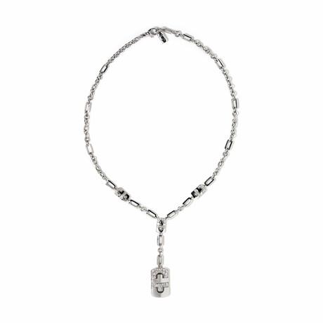 """18k White Gold Diamond Parentesi Necklace // 16"""" // New"""