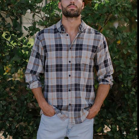 Byron Plaid Button Down Shirt // Black (S)