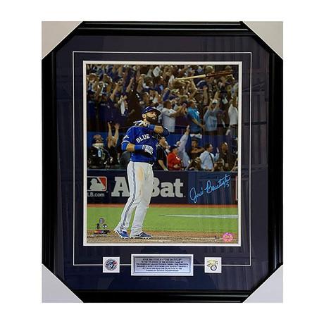Jose Bautista // Framed Autographed Toronto Blue Jays // 'Bat Flip' Framed Autographed Photo Display