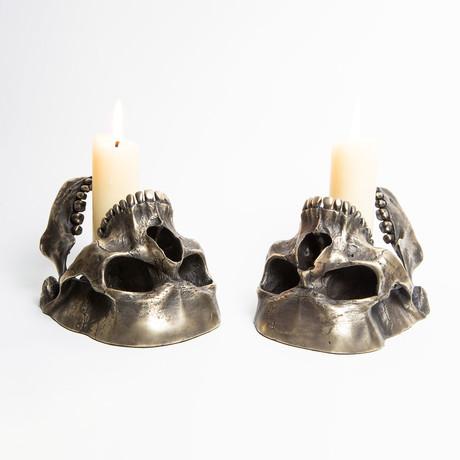 Sinister and Dexter Candlesticks // Polished Bronze // Set of 2