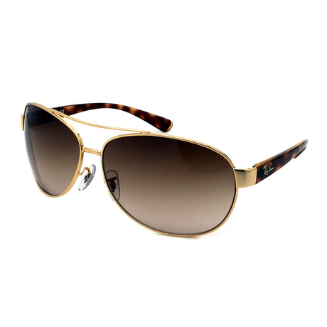 Ray-Ban // Unisex RB3386-001-13 Aviator Sunglasses // Gold + Havana + Brown Gradient