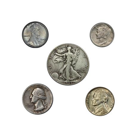 World War II U.S. 5-Coin Set // Relics of a Bygone Era Series // Wood Presentation Box
