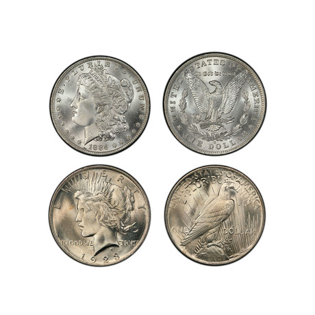 Morgan & Peace Silver Dollar 2-Coin Set (1878-1926) // Mint State Condition // American Classics Series // Wood Presentation Box