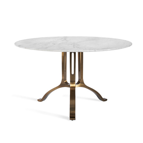 Tanner Round Dining Table (Carrara White + Antique Bronze)