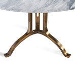 Tanner Round Dining Table (Lucust Gray + Antique Bronze)