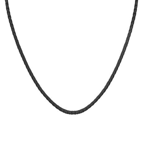 """Men's Silver + Leather Cord // Black (22""""L)"""