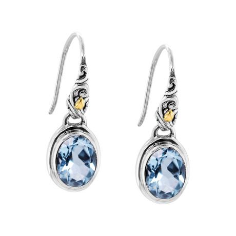 Women's Topaz Drop Earrings // Silver + Blue