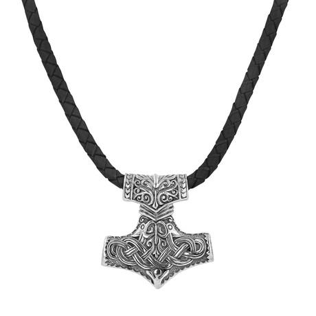 Men's Silver + Leather Viking Necklace // Black