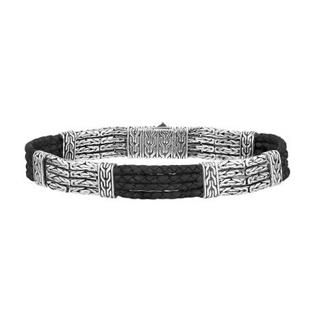 Men's Byzantine Chain + Leather Bracelet // Silver + Black