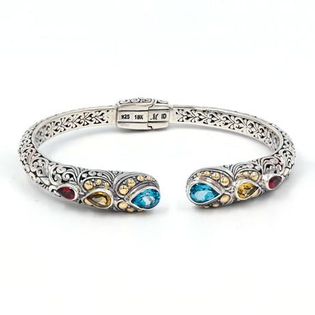 Women's Gem Bracelet // Silver + Multicolor