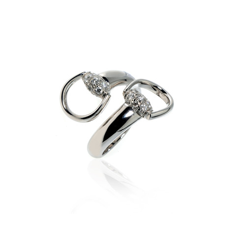 Gucci Horsebit 18k White Gold Diamond Ring // Ring Size: 6.75 // Store Display