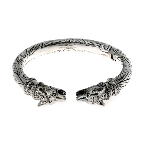 Gucci Anger Forest Sterling Silver Wolf Head Bracelet // Store Display