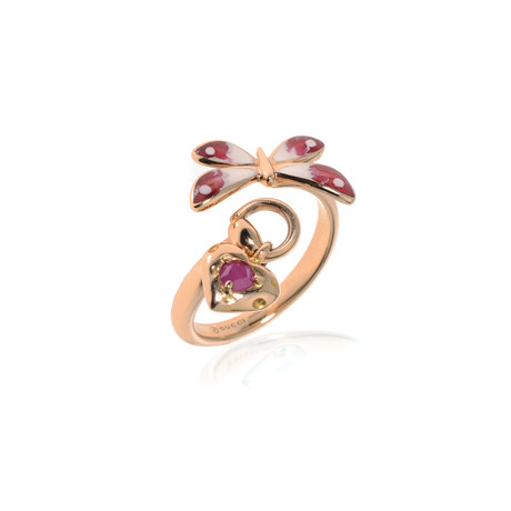 Gucci 18k Rose Gold Ruby Flora Ring // Ring Size: 5 // Store Display