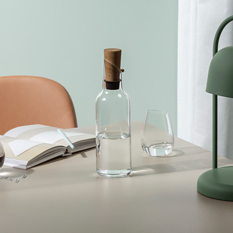 Glass Fridge Carafe + Wooden Stopper