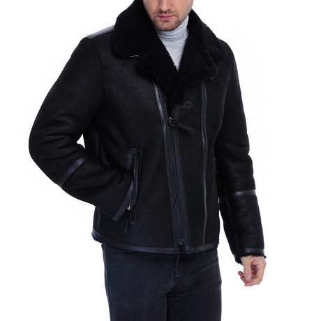 Lowe Leather Jacket // Navy Blue (XS)