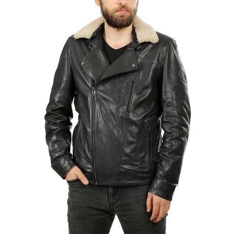 Jeremy Leather Jacket // Navy Blue (XS)