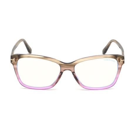 Women's Blue Light Blocking Glasses // Striped Brown + Purple Fade