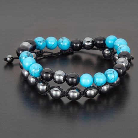 Hematite + Turquoise + Onyx Natural Stone Bracelet Set // Turquoise + Black + Silver