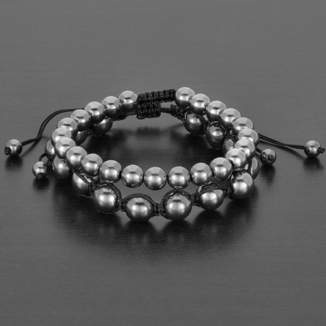 Natural Round Hematite Natural Stone Bracelet Set // Gray