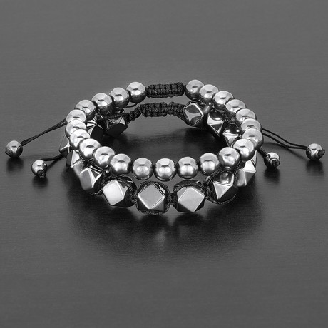 Natural Faceted + Round Hematite Natural Stone Bracelet Set // Gray