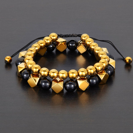 Faceted + Round Hematite + Round Agate Natural Stone Bracelet Set // Gold + Black
