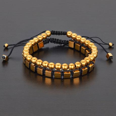 Round + Cube Hematite Natural Stone Shocker Tie Bracelet Set