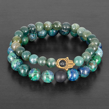 Stainless Steel Hamsa + Moss Agate + Azurite Natural Stone Bracelet Set // Gold + Green + Black