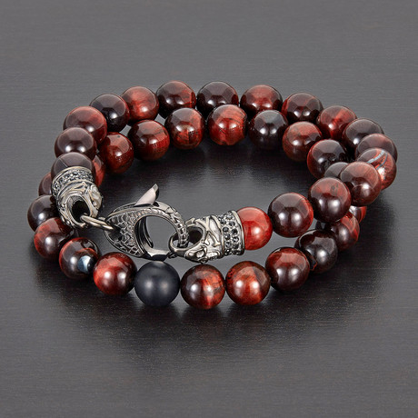 Stainless Steel + Polished Tiger Eye Natural Stone Bracelet Set (Red + Gray)