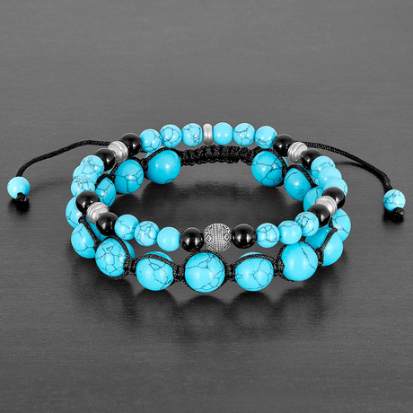 Stainless Steel + Turquoise + Polished Agate Natural Stone Bracelet Set // Turquoise + Black + Silver