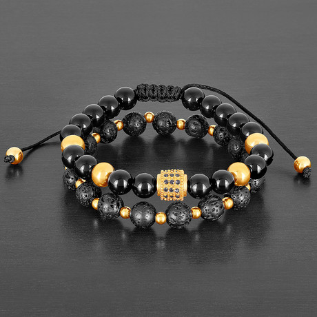 Stainless Steel + CZ + Lava + Agate Natural Stone Bracelet Set // Gold + Black