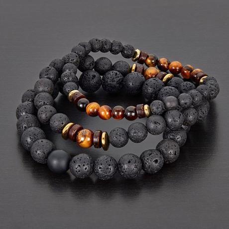 Hematite + Wood + Lava Natural Stone 3-Piece Stretch Bracelet Set // Red + Black + Gold + Brown