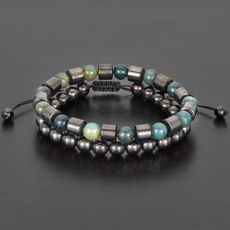Barrel + Round Hematite Beads + Moss Agate Natural Stone Bracelet Set // Green + Gray