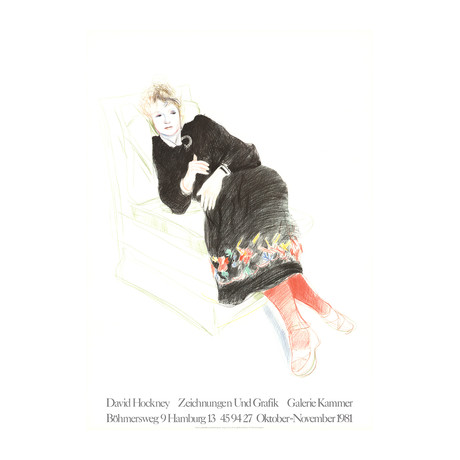 David Hockney // // Portrait of Celia In A Black Dress With Colored Border // 1981 Lithograph