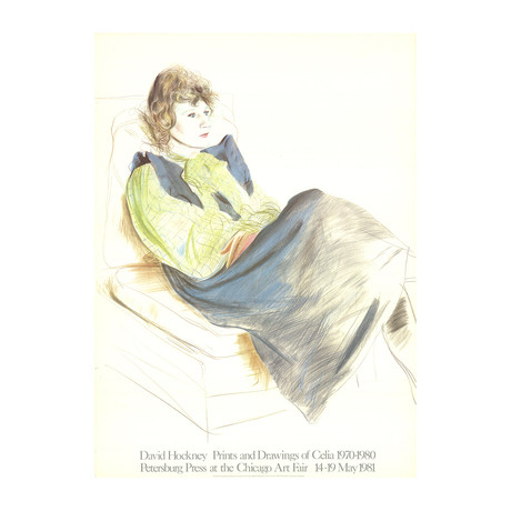 David Hockney // // Portrait of Celia Wearing Checkered Sleeves // 1981 Lithograph