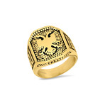 Anthony Jacobs // Eagle Shield Ring // Gold Plated (Size 9)