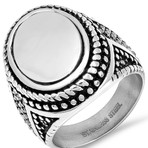 Anthony Jacobs // Accented Ring // Silver + Black (Size 9)