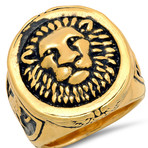 Anthony Jacobs // Lion Head Mount Ring // Gold Plated (Size 9)