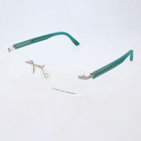 Men's P8232 Optical Frames // Silver + Light Blue