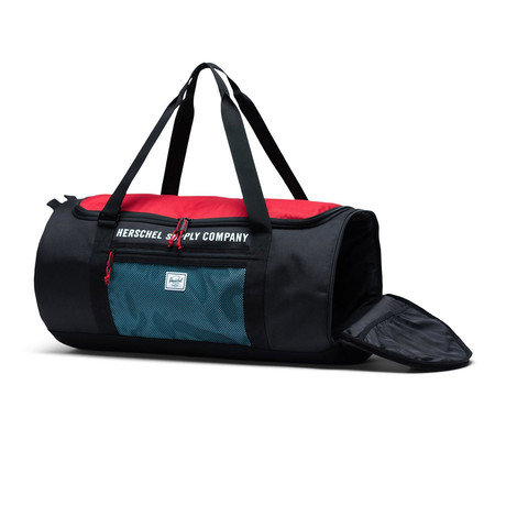 Sutton Carryall Duffle // Black + Red + Bachelor Button
