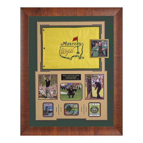 Phil Mickelson // Autographed Masters Flag Display