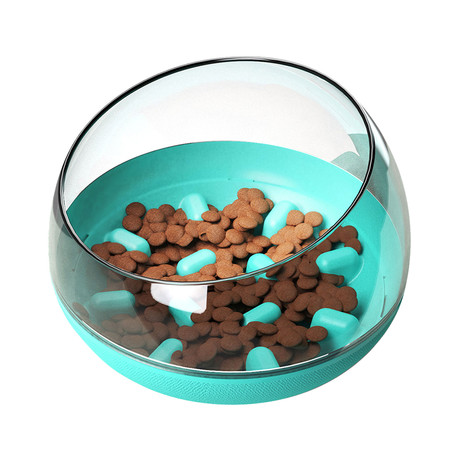 Tumbowl // Slow Feeding Pet Bowl (Blue)