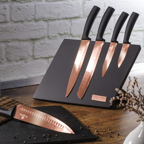 6-Piece Knife Set // Magnetic Stand // Copper
