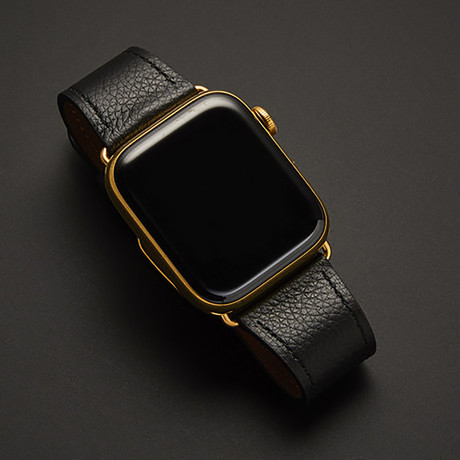 24K Gold Apple Watch Series 6 // Black Leather Band // 44mm