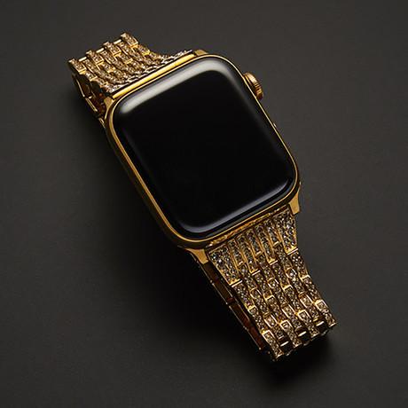 24K Gold Apple Watch Series 6 With Diamond Rhinestones Band // 44mm